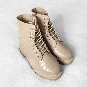 QUPID Beige Textured Combat Boots